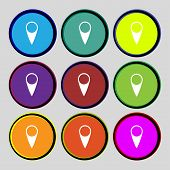 Map Pointer Icon. Gps Location Symbol. Set Colourful Buttons. Vector