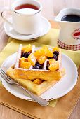 Waffles With Fruits And Berries