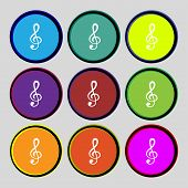 Music Note Sign Icon. Musical Symbol. Set Colourful Buttons. Vector