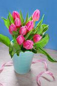Bunch Of Fresh Pink Tulips In Vase