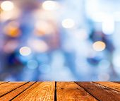 pic of wood  - Empty wood table and Coffee shop blur background with bokeh image - JPG