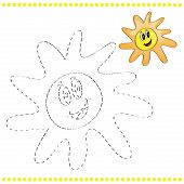 image of dots  - Connect the dots and coloring page with sun - JPG