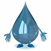 stock photo of fail-safe  - Sad water drop character isolated on white background - JPG