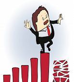 frightened businessman on a chart going down,  vector illustration
