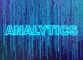 Analytics on blue binary code