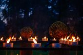 Candles, grass and wood fire Festival, pagan holiday in Estonia