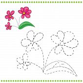 picture of dots  - Connect the dots and coloring page with grass and flowers - JPG