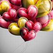 holiday illustration of flying bunch of festive balloon hearts