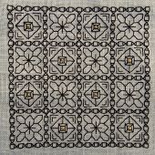 Square Blackwork embroidery with gold highlights