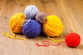 Yellow, Dark Blue, Lilac, Brown And Red Yarn