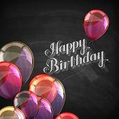 chalk illustration of Happy Birthday emblem and balloons