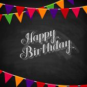 chalk illustration of Happy Birthday emblem and festive flags