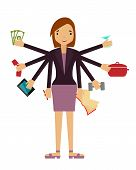 Time organization. Business woman doing several things at once. Vector illustration