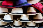 picture of top-hat  - Stacks of colorful hats line the sidewalks in Cartagena - JPG