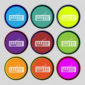Computer Keyboard Icon. Set Colourful Buttons. Vector