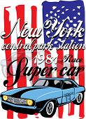 T-shirt graphics. vintage race car for printing.vector old school race poster.retro race car set.T-s