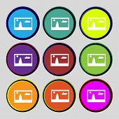 File Jpg Sign Icon. Download Image File Symbol. Set Colourful Buttons. Modern Ui Website Navigation