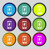 No Microphone Sign Icon. Speaker Symbol. Set Colourful Buttons. Vector