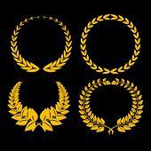four golden laurel on black background
