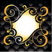 swirl ornate border on leather background