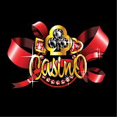 golden casino label with red ribbons on black background