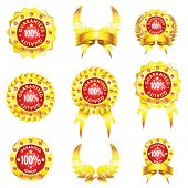 set of golden badges isolated on white background
