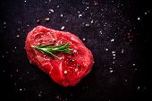 Raw Steak With Rosemary, Salt And Pepper