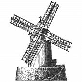 Old mill vector logo design template. flour, wheat, bread or architecture icon.
