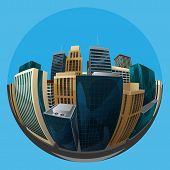 illustration of fisheye lens cityscape view. city