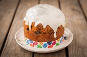 Rustic Style Kulich, Russian Sweet Easter Bread Topped With Sugar Glaze