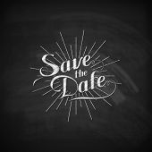 chalk illustration of handwritten Save the Date label