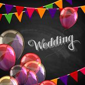 chalk illustration of Wedding label with balloons and flags