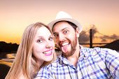 Beautiful Couple taking a selfie photo in San Francisco, USA