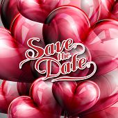 holiday illustration of  Save the Date label with balloons