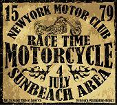 Vintage Motorbike Race Hand drawing T-shirt Printing