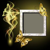 Background With Grungy Photo Frame, Butterflies And Smoke