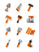 Working tools for construction and maintenance flat icons set. Eps10 vector illustration. Isolated on white background