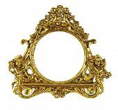 stock photo of cherub  - Gold Cherub Picture Frame isolated on white - JPG
