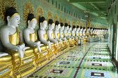 Buddha Statues At U Min Thonze Pagoda In Sagaing, Mandalay, Myanmar