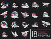 Set of modern origami paper infographics, business polygonal abstract design