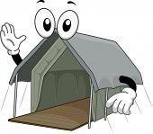 Mascot Illustration of a Safari Lodge Tent Waving His Hand