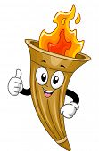 Mascot Illustration of a Flaming Torch Giving a Thumbs Up