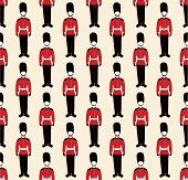 stock photo of guardsmen  - vector seamless pattern with a british guardsmen images - JPG