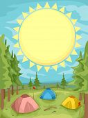 Background Illustration of a Summer Camp With the Sun Shining Brightly Above