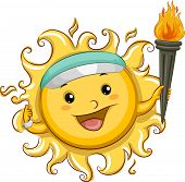 Illustration of the Sun Wearing a Sun Visor Carrying a Torch