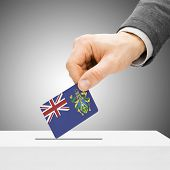 Voting Concept - Male Inserting Flag Into Ballot Box - Pitcairn Island