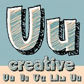 Funny sketch alphabet. Vector illustration of hand drawing font. Letter U