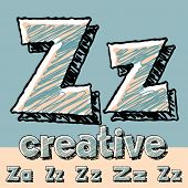 Funny sketch alphabet. Vector illustration of hand drawing font. Letter Z