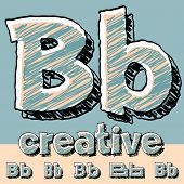 Vector set of funny sketch alphabet. Vector illustration of hand drawing font. Letter B