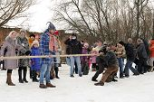 Tug Of War During Winter Maslenitsa Carnival In Russia